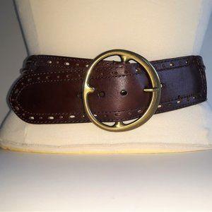 Linea Pelle handmade brown leather wide belt M
